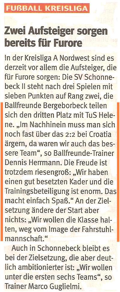 WAZ-Bericht über die 1. Mannschaft von Ballfreunde Bergeborbeck