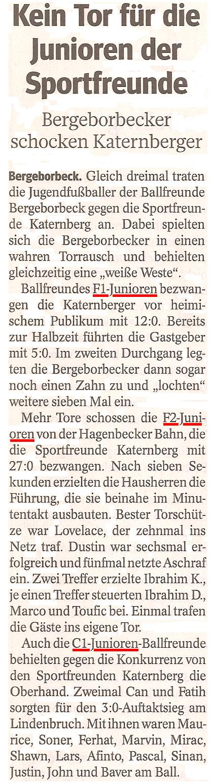Die WAZ berichtet über die 42 Tore der Ballfreunde gegen Spfr. Katernberg