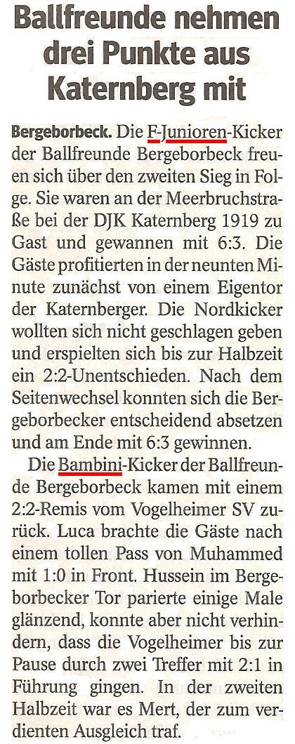 Die WAZ berichtet über die Bambini und F1-Jugend von Ballfreunde Bergeborbeck