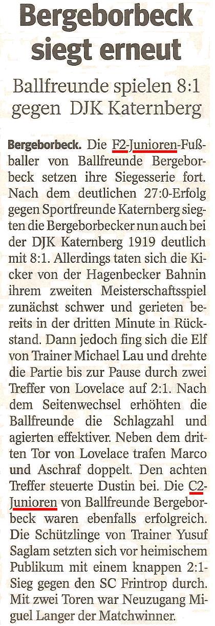Die WAZ berichtet über die F2-Jugend und C2-Jugend von Ballfreunde Bergeborbeck