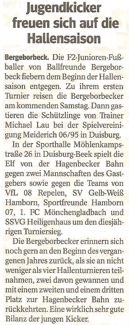 Die WAZ kündigt interessante Hallensaison der Ballfreunde F2-Junioren an