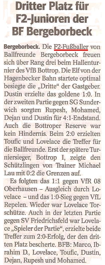 Die WAZ vom 20.02.2013 berichtet über den 3. Platz der F2 beim Hallenturnier von VfB Bottrop