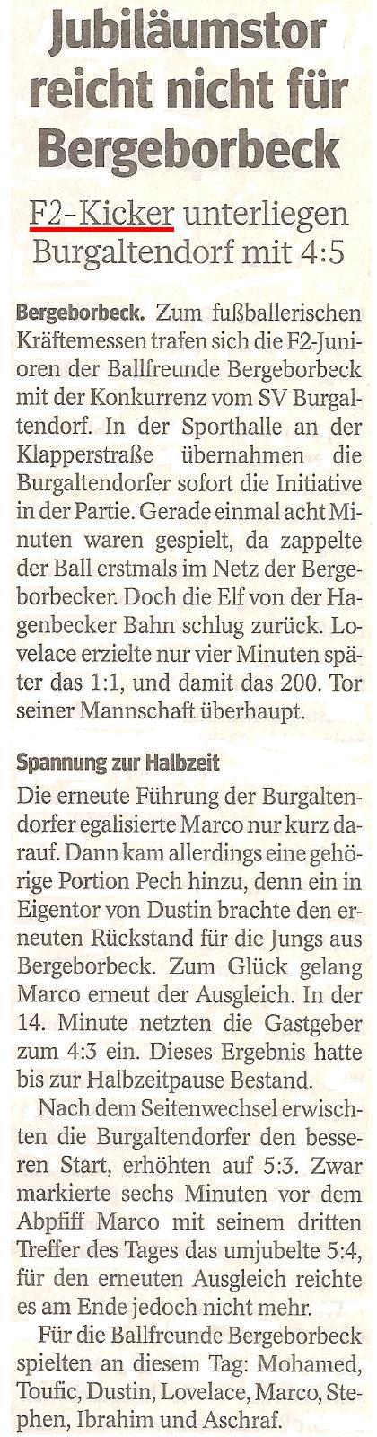 Die WAZ vom 20.03.2013 berichtet über das Hallenspiel in Burgaltendorf
