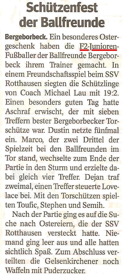 Die WAZ vom 04.04.2013 berichtet über den 19:2 Kantersieg in SSV Rotthausen