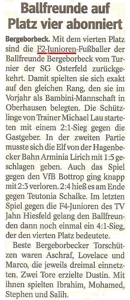 Die WAZ vom 09.04.2013 berichtet über unseren 4. Platz beim Osterturnier von SG Oberhausen-Osterfeld