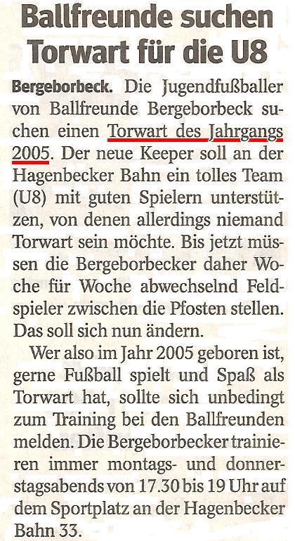 Die WAZ vom 15.04.2013 berichtet über unseren 5:2 Sieg im Meisterschaftsspiel beim Vogelheimer SV