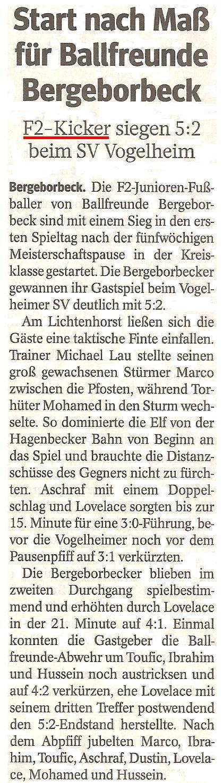 Die WAZ vom 17.04.2013 berichtet über unseren 5:2 Sieg gegen den Vogelheimer SV