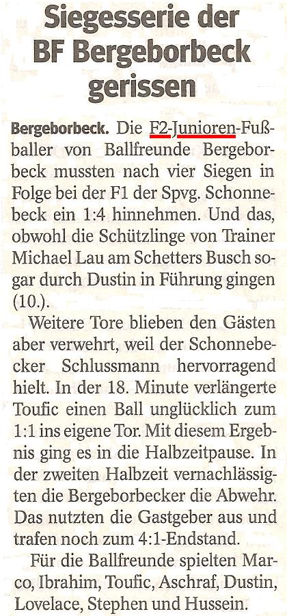 Die WAZ vom 30.04.2013 berichtet über unser Meisterschaftsspiel bei der Spielvereinigung Schonnebeck