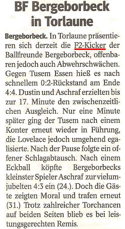 Die WAZ vom 08.05.2013 berichtet über das spannende 4:4 Unentschieden im Meisterschaftsspiel gegen TuSEM Essen