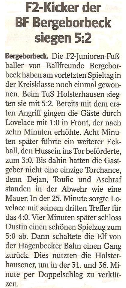 Die WAZ vom 16.05.2013 berichtet über unseren 5:2 Sieg im Meisterschaftsspiel gegen TuS Holsterhausen