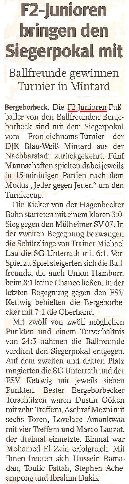 Die WAZ vom 04.06.2013 berichtet über den Pokalsieg der F2-Junioren beim Fronleichnamsturnier in DJK Blau-Weiß Mintard
