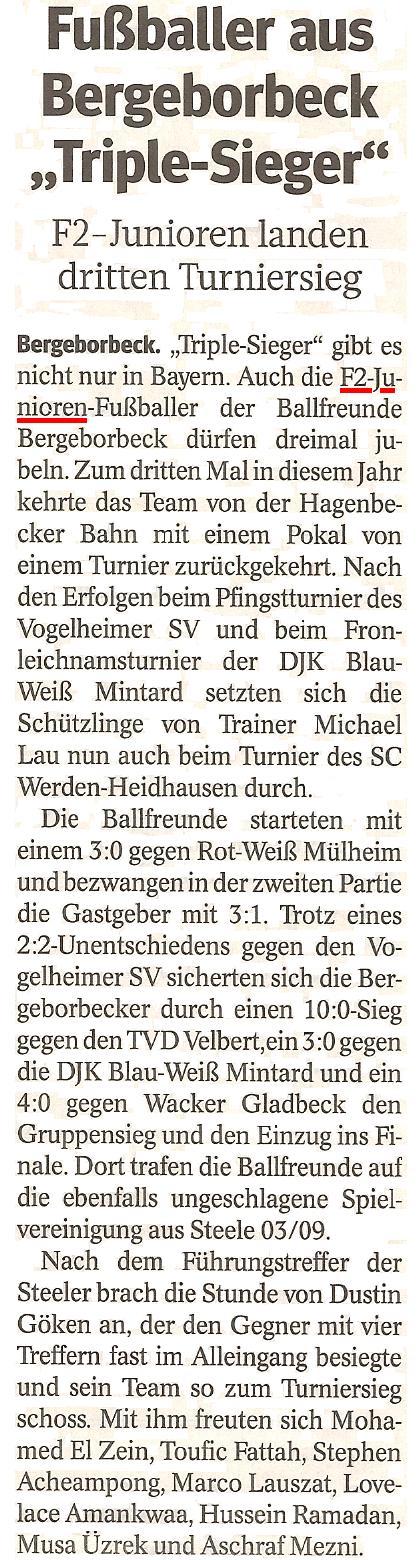 """Die WAZ vom 11.06.2013 berichtet über das """"Triple"""" der F2-Junioren"""