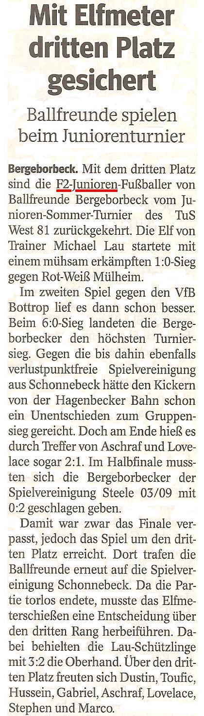 Die WAZ vom 25.06.2013 berichtet über den 3. Platz der F2-Junioren in Essen-West