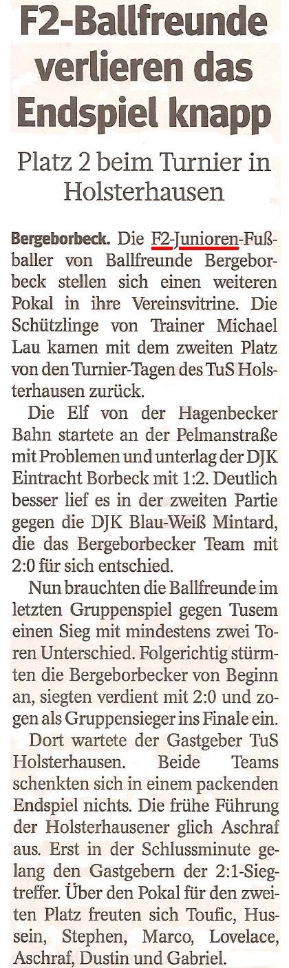 Die WAZ vom 27.06.2013 berichtet über den 2. Platz der F2-Junioren beim Turnier von TuS Holsterhausen