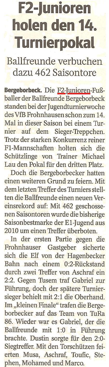 Die WAZ vom 03.07.2013 berichtet über den 3. Platz der F2-Junioren beim Turnier von VfB Frohnhausen