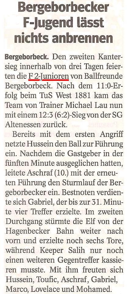 Die WAZ vom 09.07.2013 berichtet über zwei Kantersiege der F2-Junioren gegen TuS Essen-West und SG Altenessen