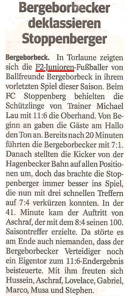 Die WAZ vom 10.07.2013 berichtet über den Kantersieg der F2-Junioren in Stoppenberg