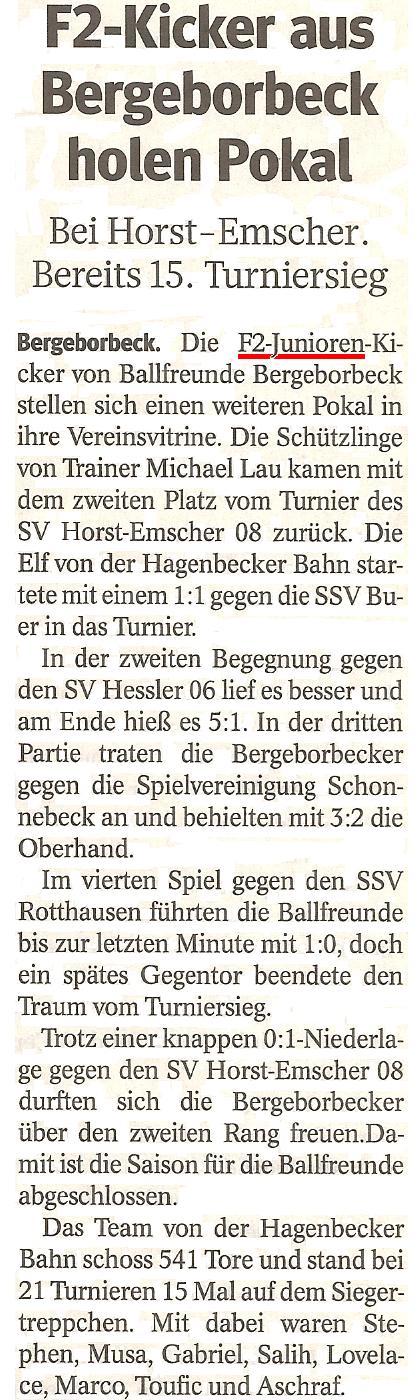 Die WAZ vom 17.07.2013 berichtet über den Pokalgewinn der F2-Junioren beim Turnier in SV Horst-Emscher 08
