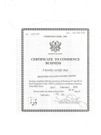 Believers cleaning centre ltd ghana certificate of for Smartdraw certificate templates
