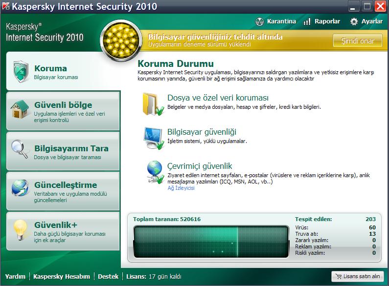 KasperSky Antivirüs Görünümü