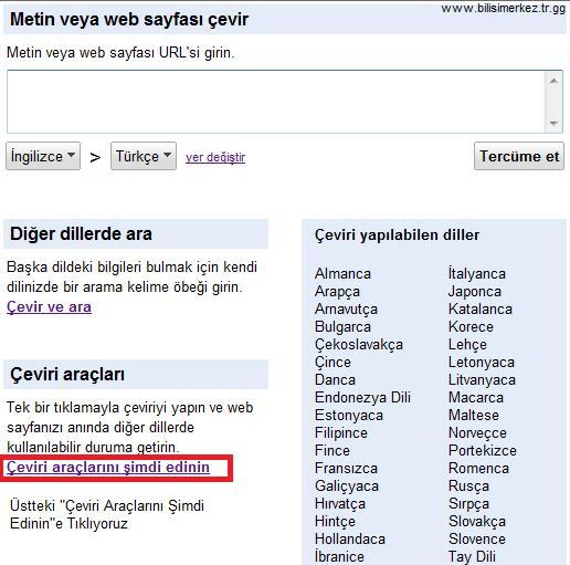 Sitene Google Çeviri Aracı