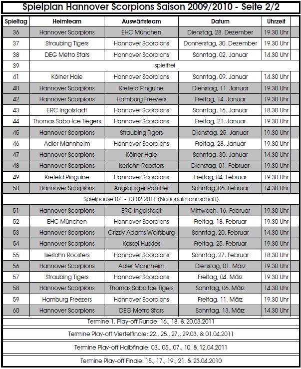 Spielplan Hannover Scorpions