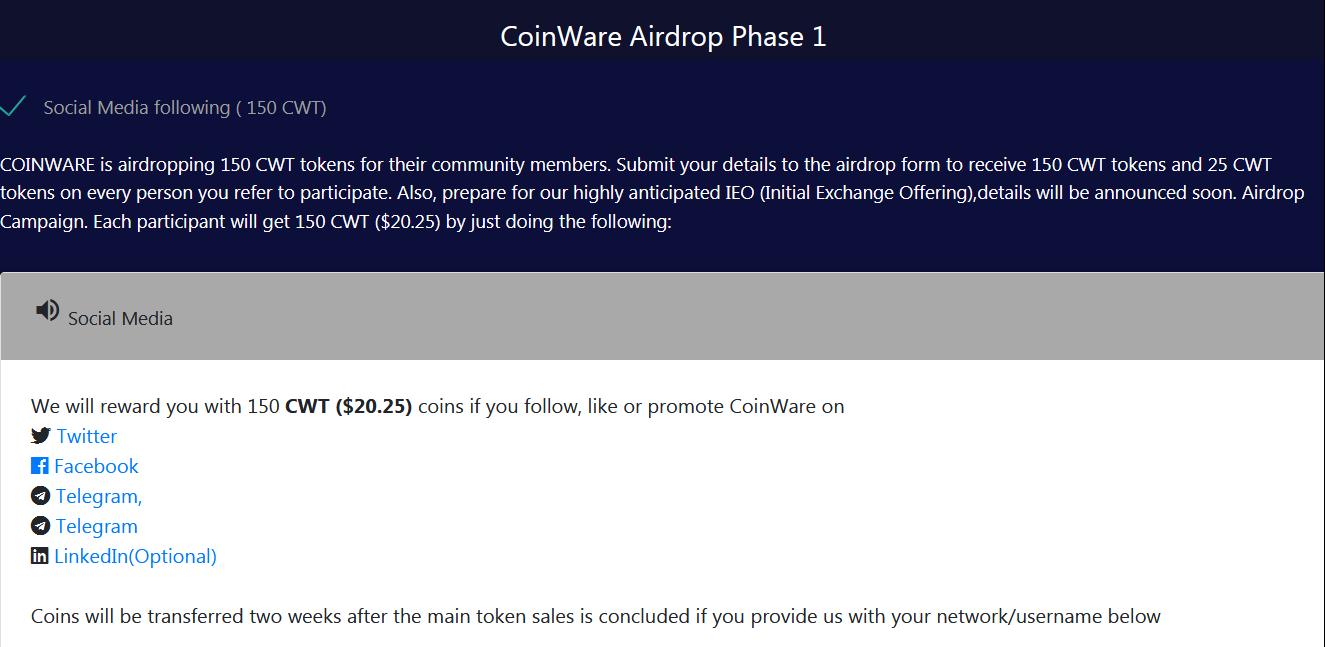 Testeando Airdrops - CoinWare Phase 1 lanza su airdrop y regala 150 tokens por valor de 20,50 USD  Airdrop-coinware