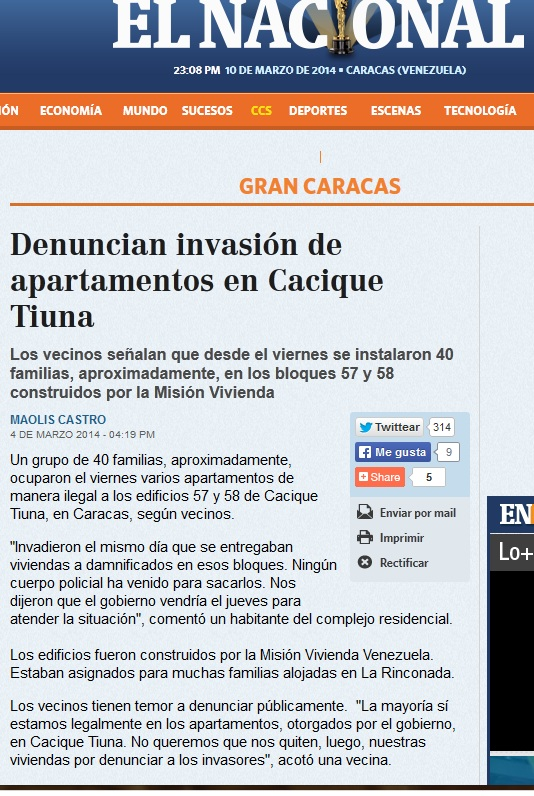 invasion cacique tiuna