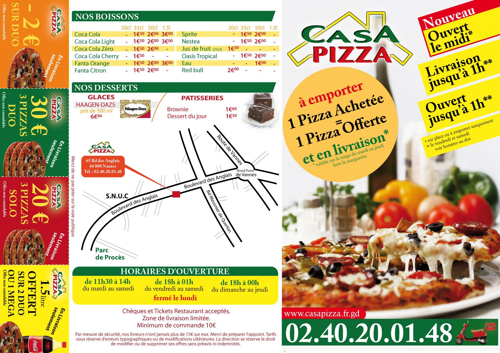 CASA PIZZA - Notre carte