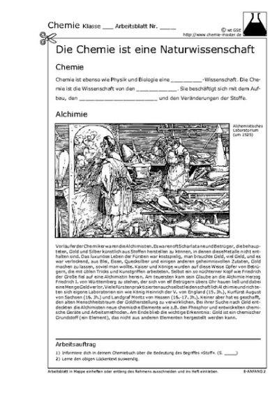 chemiemathephysik - Chemie Arbeitsblätter