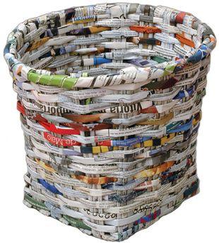 El reciclaje materiales reciclables el papel - Hacer cestas con papel de periodico ...