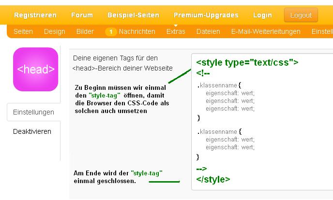 CSS-Code einfügen