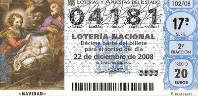 Decimo de loteria de navidad 2008