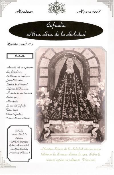 Portada revista Cofradía Nuestra Sra. de la Soledad 2008
