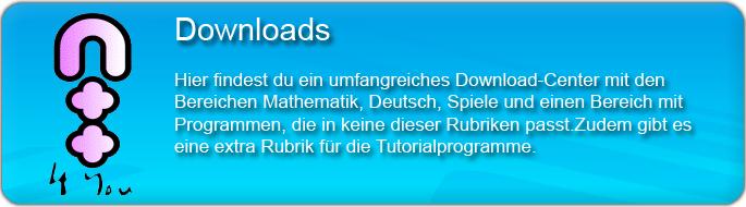 Hier findest du ein umfangreiches Download-Center mit den Bereichen Mathematik, Deutsch, Spiele und einen Bereich mit Programmen, die in keine dieser Rubriken past. Zu dem gibt es eine extra Rubrik für die Tutorialprogramme.