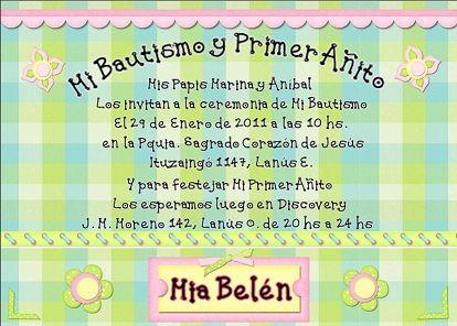Tarjetas De Invitación Bautizo Cumpleaños Imagui