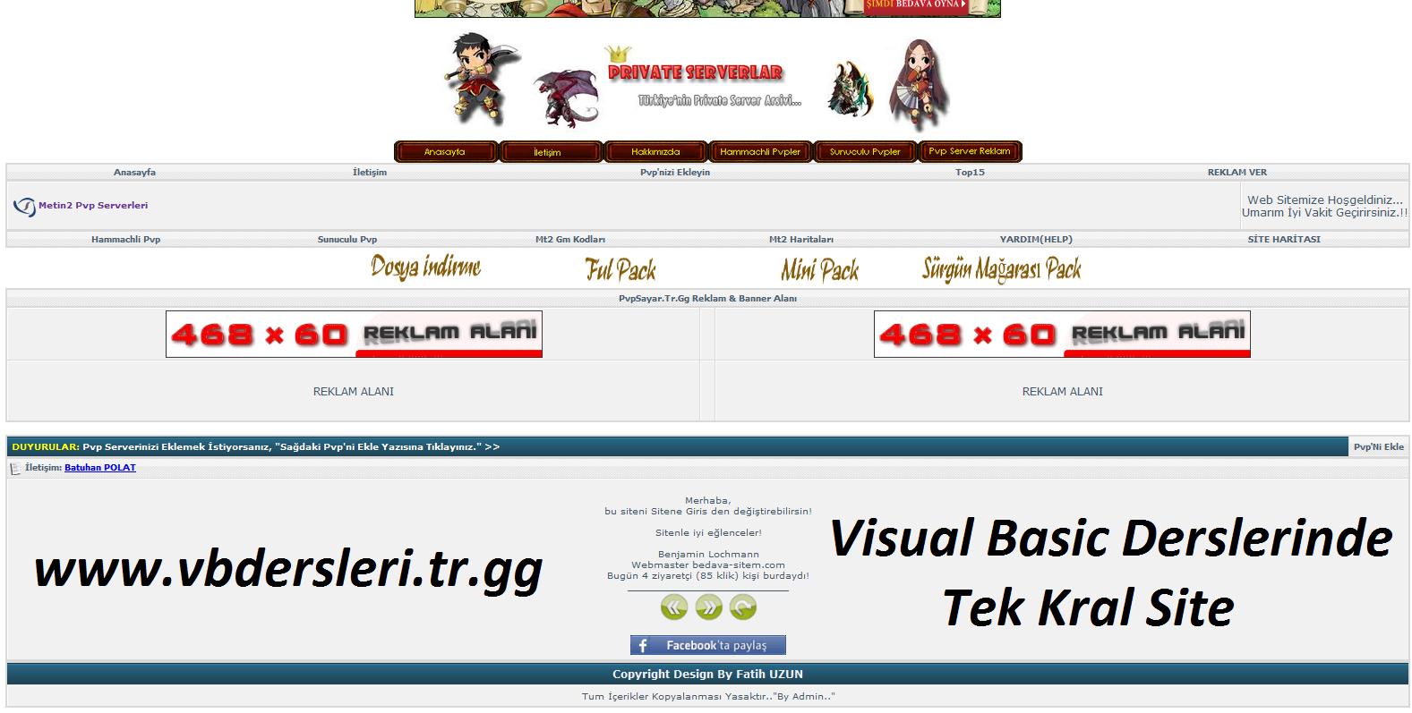 PVP Server Sitesi Tasarımı