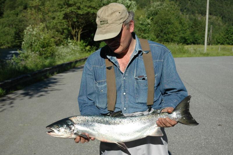 Frode Brattebø med ein fin laks på 4.5kg tatt 1.juli. Foto: Arne R Sandven