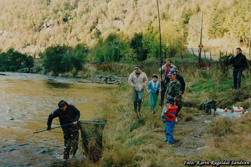 Åsmund Karlsen landar ein stamfisk, og Inge Sandven håvar fisken.