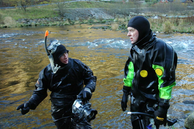 Gytefisktelling er med på å kartlegge viktige gyteområde og bestanden i elva. Tore Wiers t.v og Inge Sandven iført dykkardrakt. Foto: Arne R Sandven