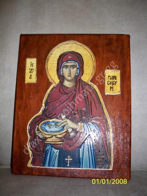 Η Άγία Παρασκευή - Εικόνα σε καμβά με σμάλτο