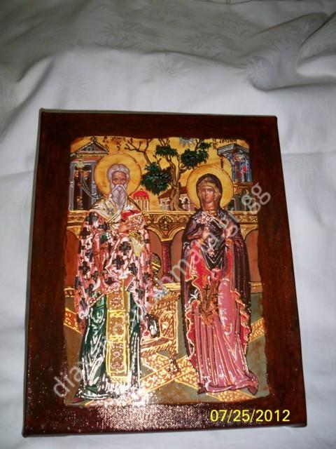 Ο Άγιος Κυπριανός και η Αγία Ιουστίνη - Εικόνα σε καμβά με σμάλτο