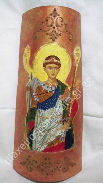 Ο Άγιος Δημήτριος - Εικόνα decoupage σε κεραμίδι με σμάλτο διακοσμημένη με stencil.