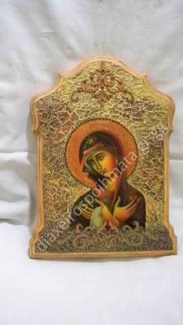 Εικόνα Decoupage σε ξύλο και ανάγλυφο craquele