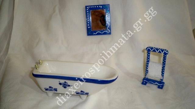 Μπανιέρα πορσελάνη, καθρέφτης και stand πετσέτας με 3D και πετσετούλα ραμμένη στο χέρι