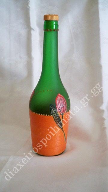 Διακόσμηση σε μπουκάλι με τεχνική decoupage και 3D