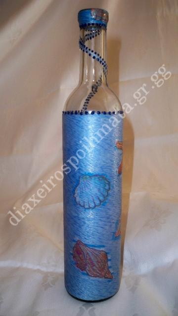 Διακόσμηση σε μπουκάλι με νήμα & decoupage κοχύλια κ´ 3D λεπτομέριες