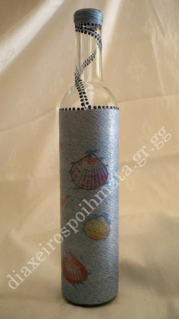 Διακόσμηση σε μπουκάλι με νήμα, decoupage κοχύλια κ´ 3D λεπτομέριες