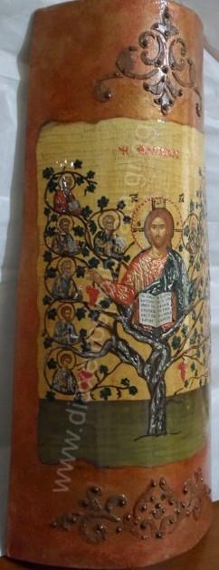 Η  Άμπελος - Εικόνα decoupage σε κεραμίδι με σμάλτο διακοσμημένη με stencil.