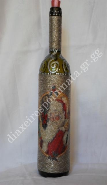 Διακόσμηση σε μπουκάλι με νήμα κ´ 3D λεπτομέριες
